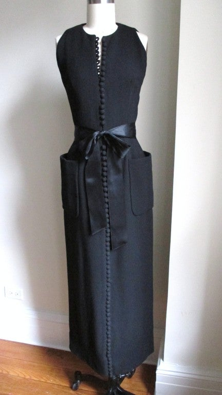 1960's Geoffrey Beene Button Wool Maxi Dress 2