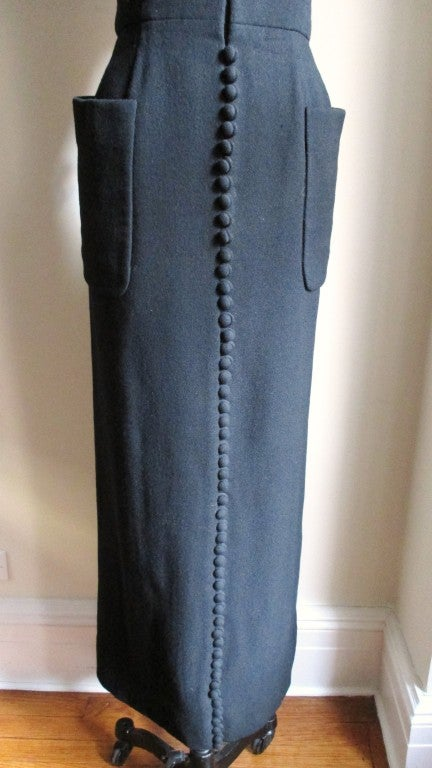 1960's Geoffrey Beene Button Wool Maxi Dress 5