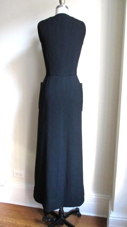 1960's Geoffrey Beene Button Wool Maxi Dress 6
