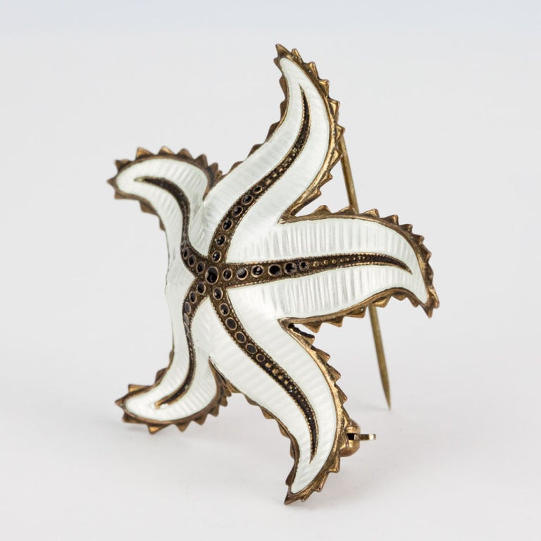 Vintage Mid-century David Andersen Beautiful white Enamel Guilloche gilt sterling silver Starfish brooch signed with Ivar Holth's