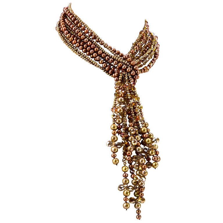 Golden Bronze Pearls and Crystal Multi-Strand Necklace
