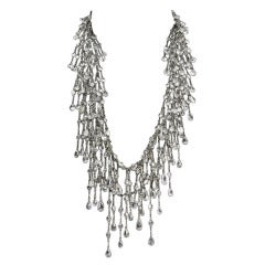 Multi Strand Cascade Swarovski Crystal Long Silver Necklace