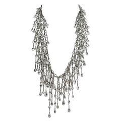 Multi Strand Cascade Swarovski Crystal Long Silver Necklace