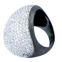 Fabulous Disco Fever Sparkling Crystal Dome Sterling Silver Ring