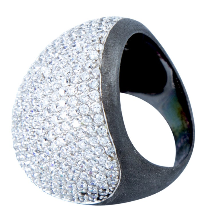 Fabulous Disco Fever Sparkling Crystal Dome Sterling Silver Ring 1