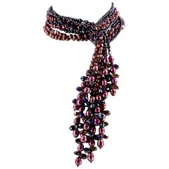 Sriking Bronze Pearls and Crystals Statement Necklace