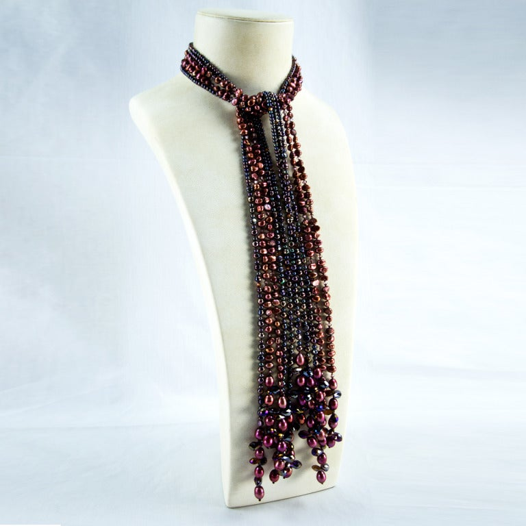 Sriking Bronze Pearls and Crystals Statement Necklace 2