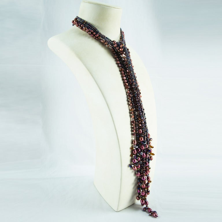 Sriking Bronze Pearls and Bronze and Clear Crystals Necklace 3