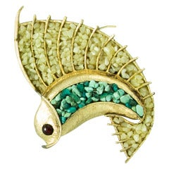 Rare SWOBODA Figural Jade and Turquoise Flying Fish Brooch Pin