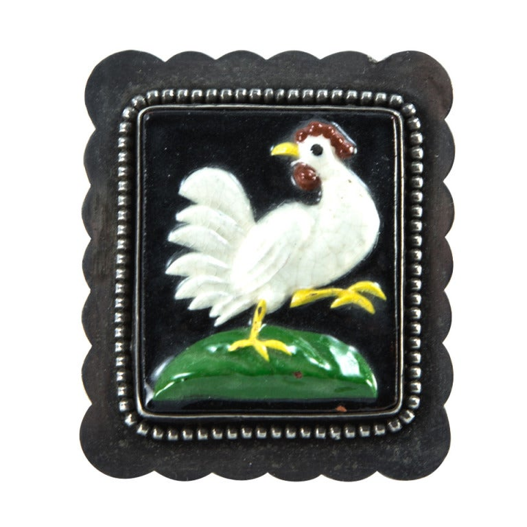 Art Deco Porcelain Rooster Sterling Silver Brooch Pin C1930s For Sale