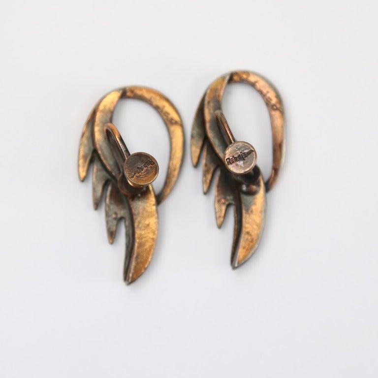 Modernist Mid Century Modern Rebajes Flame Pendant Copper Earrings For Sale