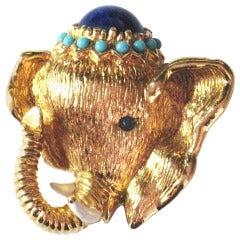 Golden Elephant Panetta Brooch Pin C1960s