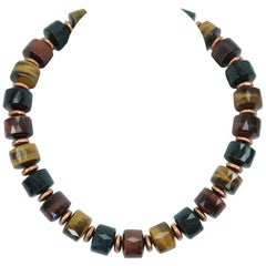 Exquisite Tiger Eye and Copper Statement Necklace Fine Estate Jewelry