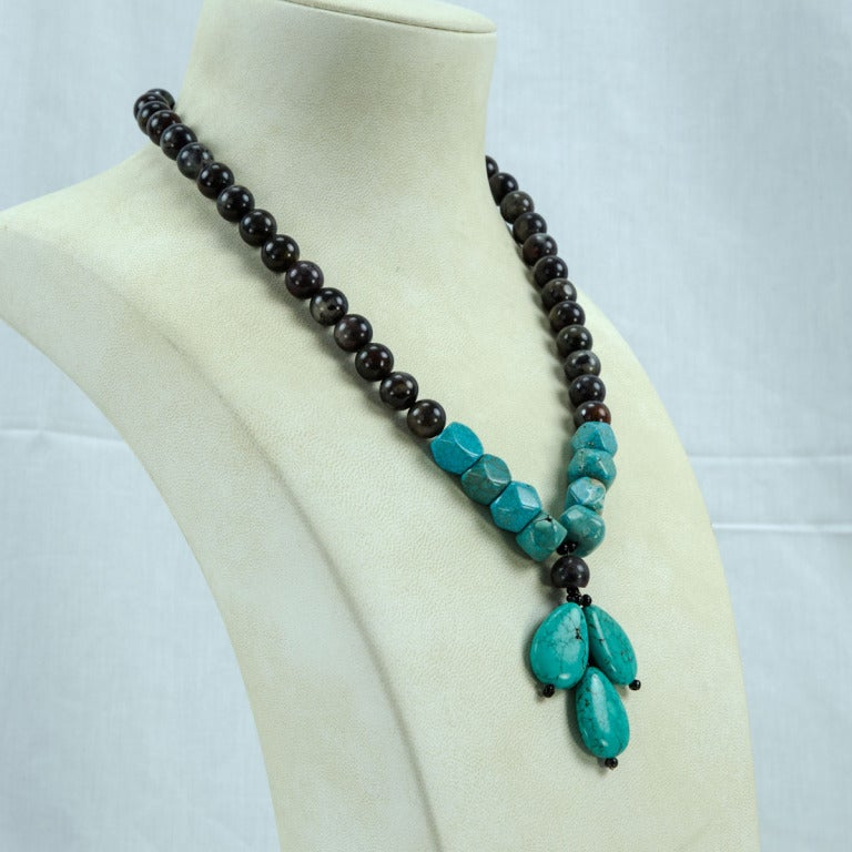 Exquisite Turquoise and Jasper Necklace, featuring 12.5+mm Jasper beads, suspending Teardrop and facet-cut Turquoise stones, held by a Sterling Silver Clasp. Integrating the vintage stones and creating the teardrop pendant was a coup for me, they