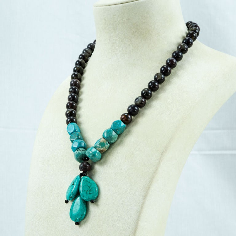Coach House Turquoise and Jasper Runway Necklace In Excellent Condition For Sale In Montreal, CA