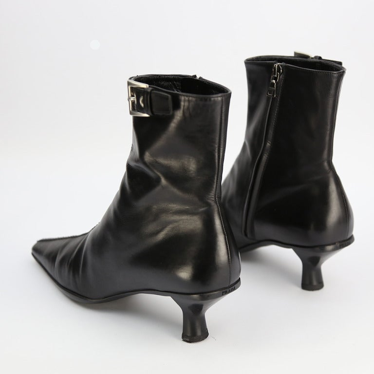 black leather ankle boots by prada italy at 1stdibs
