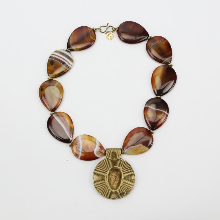 One-of-a-Kind Teardrop Banded Agate Necklace 4