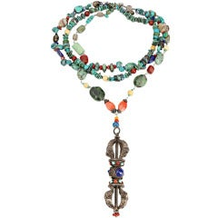 Turquoise Coral Lapis Agate Sterling Silver Dorje Statement Necklace