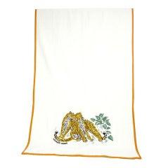 Rare HERMES Embroidered Leopard Cotton Towel Set