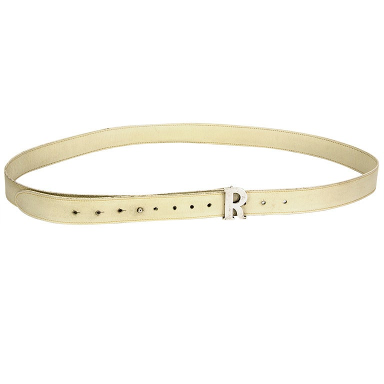 GUCCI  Leather and Sterling Silver Initial R Belt
