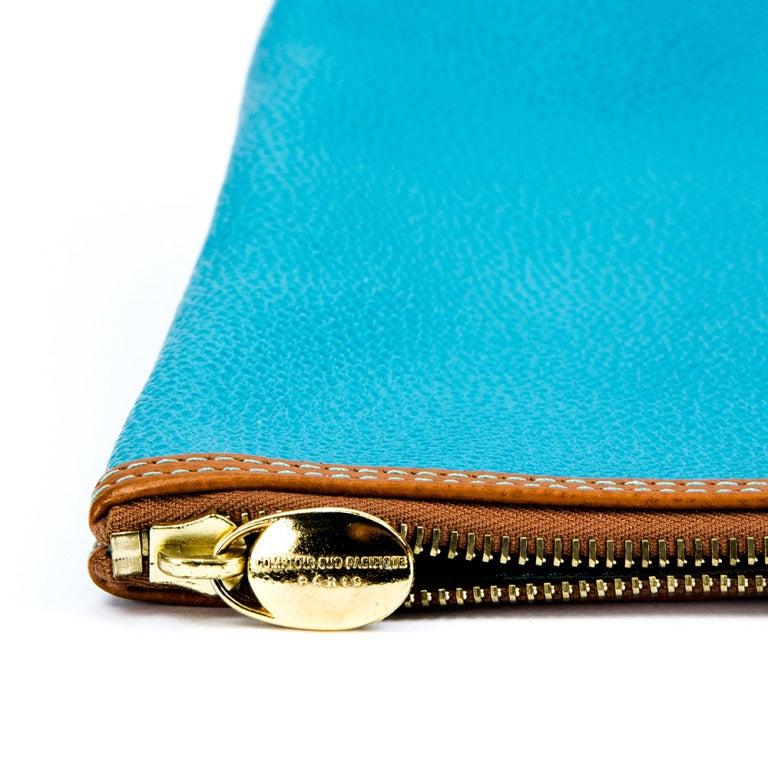 Blue Leather Clutch Bag by Comptoir Sud Pacifique Paris France For Sale