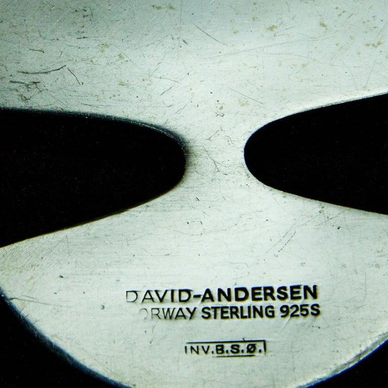 Modernist Striking David Andersen Norway Sterling Silver Enamel Pendant Necklace  For Sale