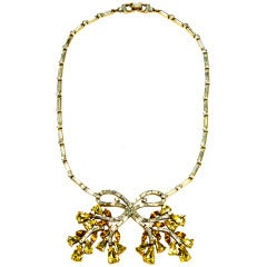 Alfred Philippe for Trifari Retro 1940s Crystal Bow Necklace