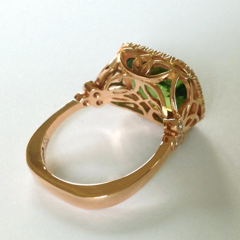 Dalben Peridot Diamond Gold Ring 6