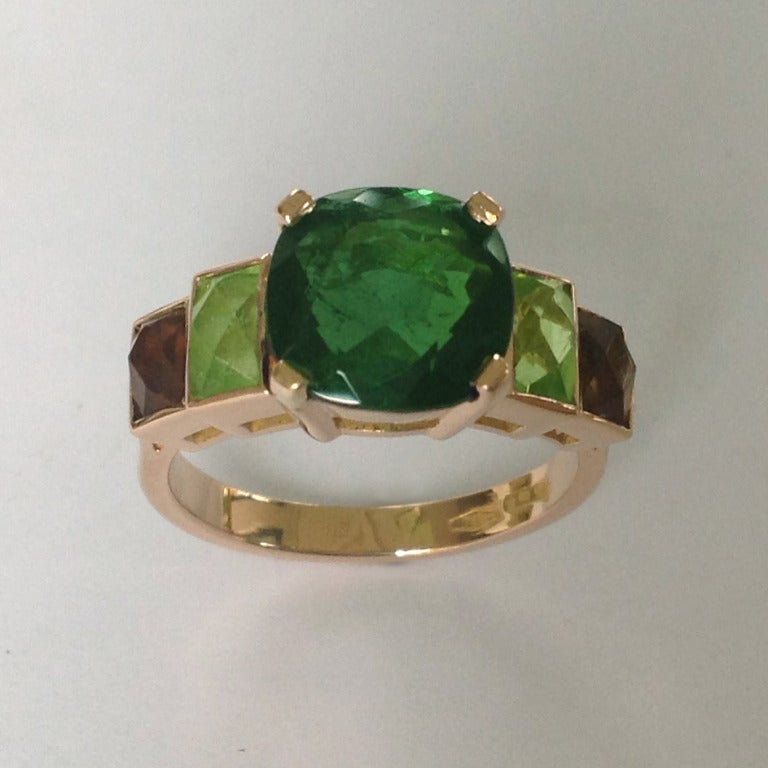 Dalben Tourmaline Peridot Quartz Fume Rose Gold Ring At