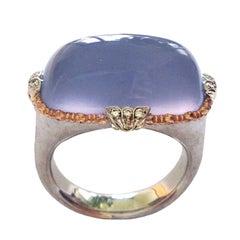 Dalben Namibian Chalcedony Diamond Gold Ring