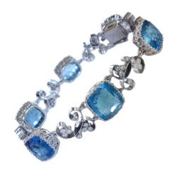Dalben Aquamarine Diamond Gold Bracelet
