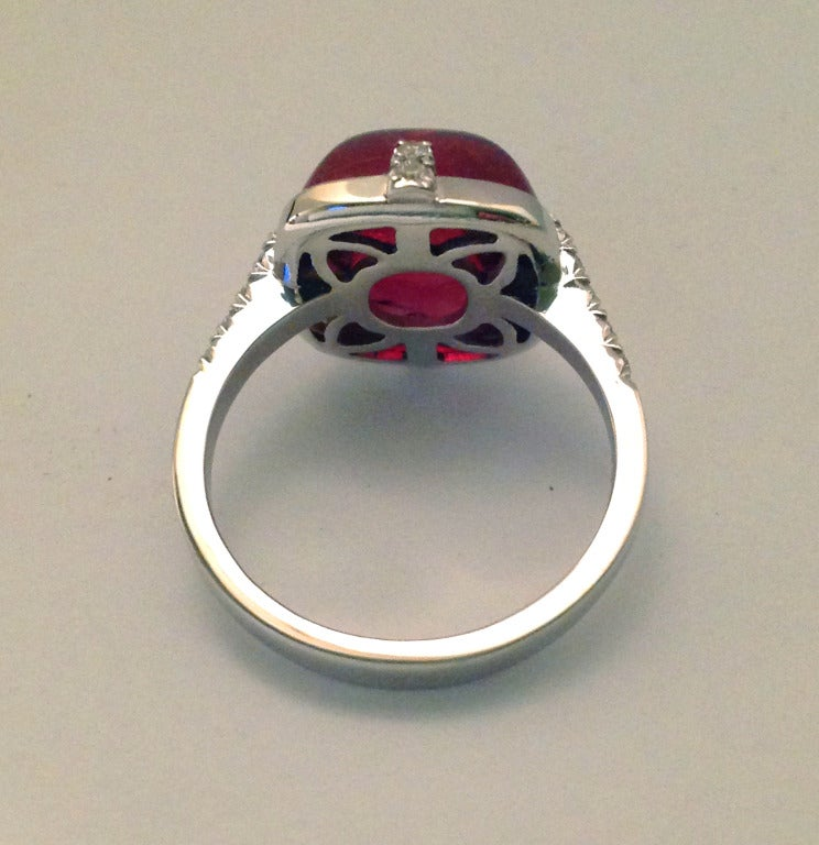 Women's Dalben Red Tourmaline Diamond Gold Ring For Sale