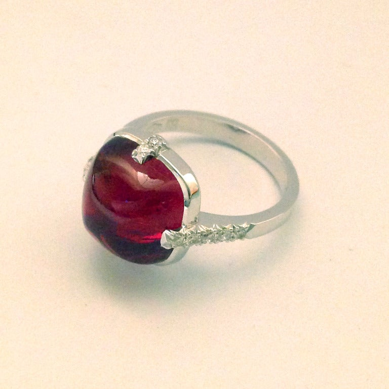 Dalben Red Tourmaline Diamond Gold Ring For Sale 1