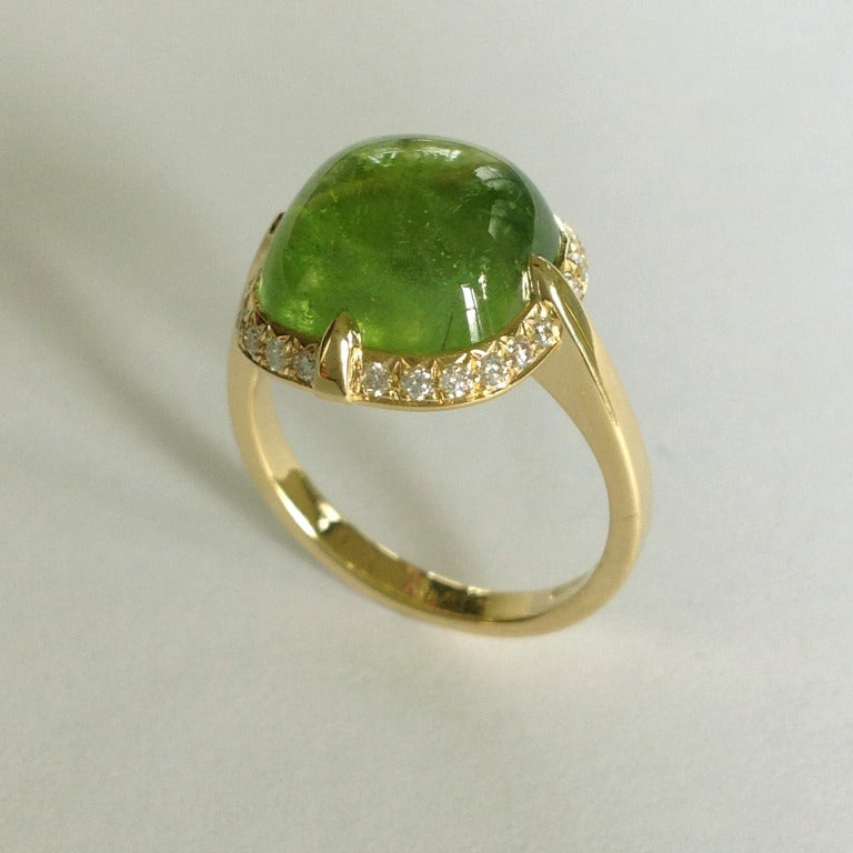 Dalben Peridot Diamond Gold Ring In New Condition For Sale In Como, IT