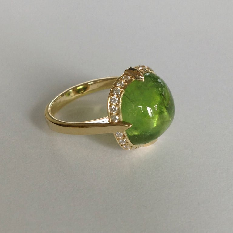Women's Dalben Peridot Diamond Gold Ring For Sale
