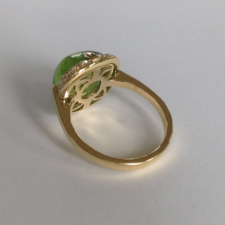 Dalben Peridot Diamond Gold Ring For Sale 1