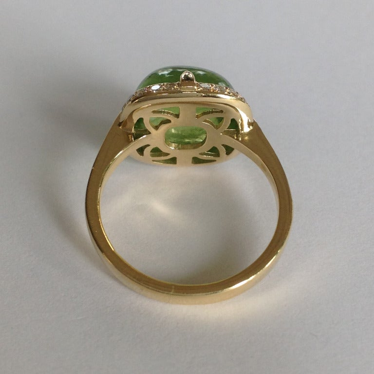 Dalben Peridot Diamond Gold Ring For Sale 2