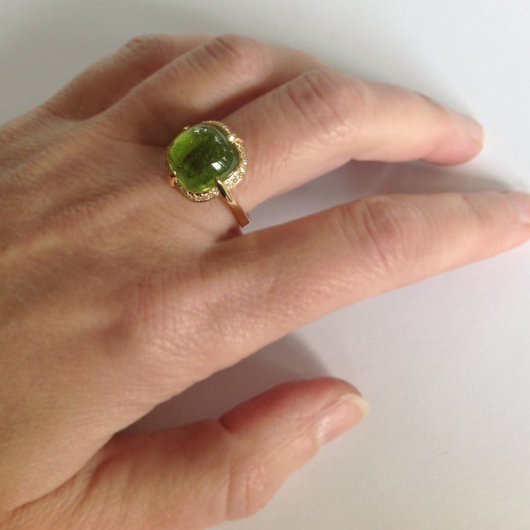 Dalben Peridot Diamond Gold Ring For Sale 3