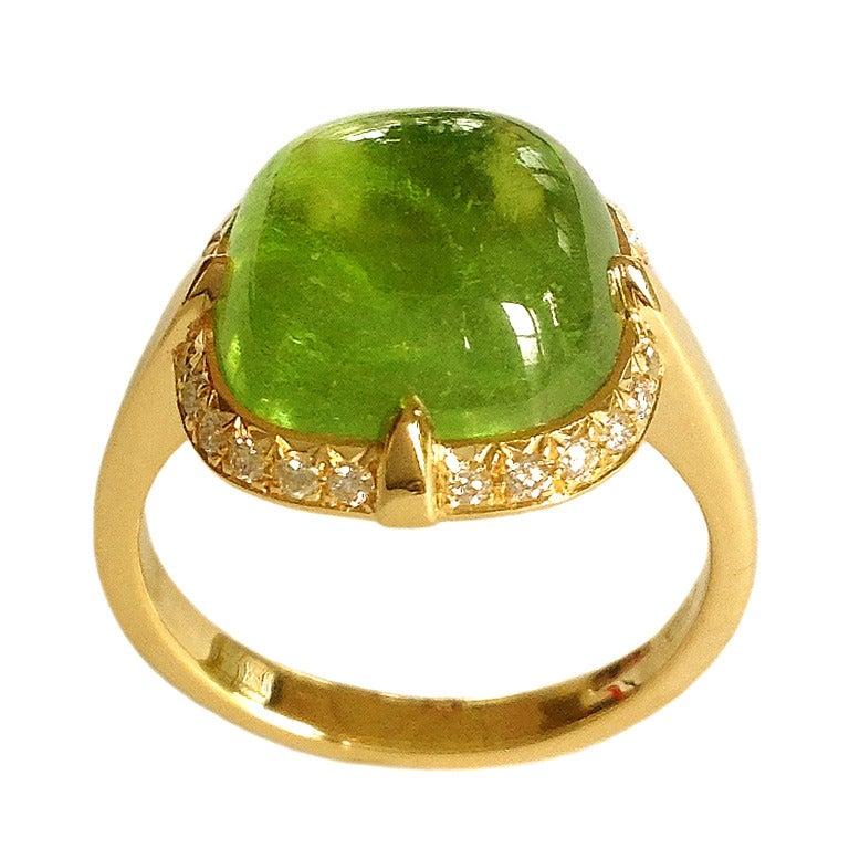 dalben peridot gold ring at 1stdibs