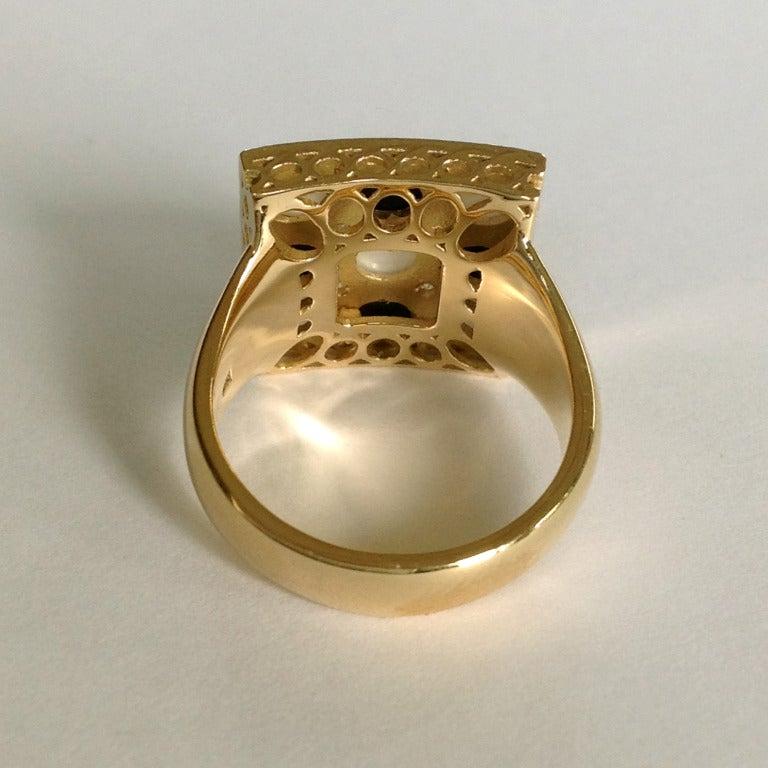 dalben white agate onyx yellow gold ring at 1stdibs