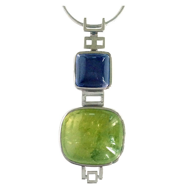 Dalben Peridot Iolite Gold Pendant Necklace