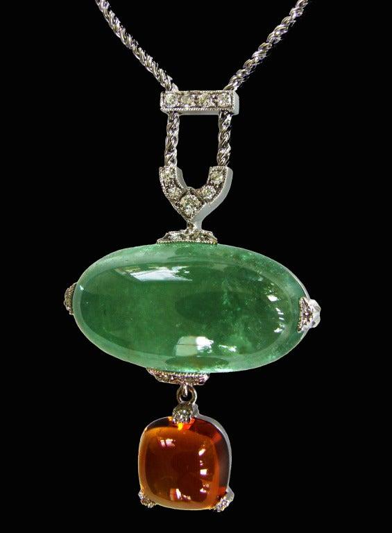 Dalben Aquamarine Citrine Diamond Pendant Necklace For Sale 2