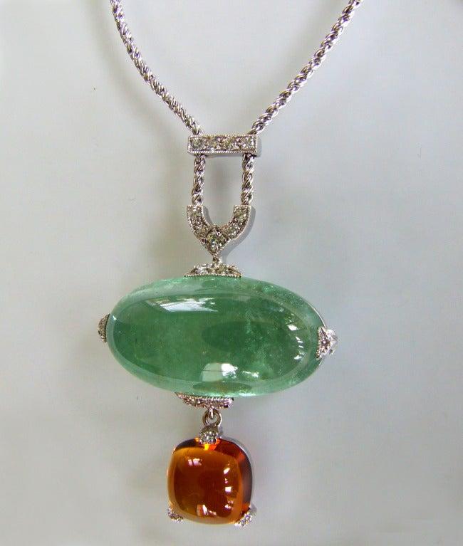 Contemporary Dalben Aquamarine Citrine Diamond Pendant Necklace For Sale