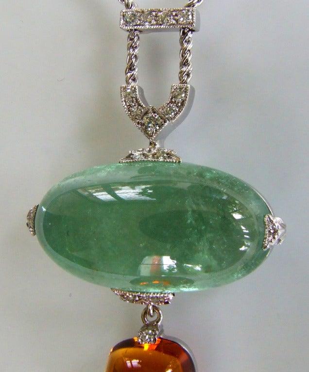 Dalben Aquamarine Citrine Diamond Pendant Necklace For Sale 1