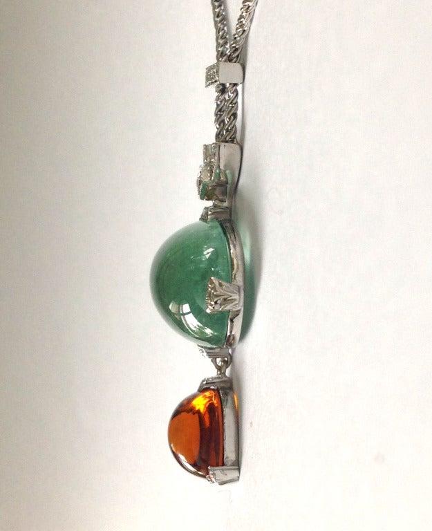 Dalben Aquamarine Citrine Diamond Pendant Necklace For Sale 3