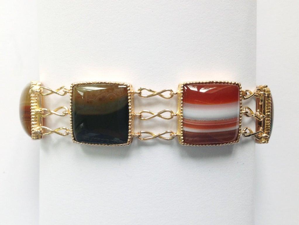 Contemporary Dalben Agate Rose Gold Link Bracelet For Sale