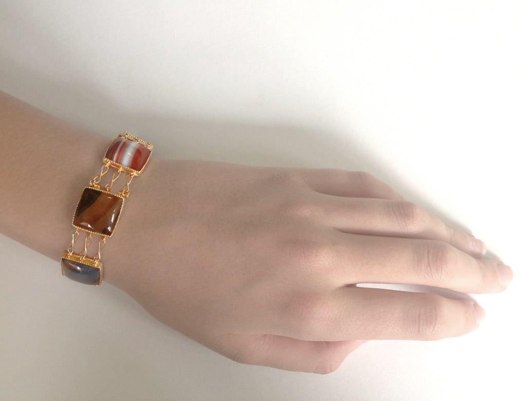 Women's Dalben Agate Rose Gold Link Bracelet For Sale