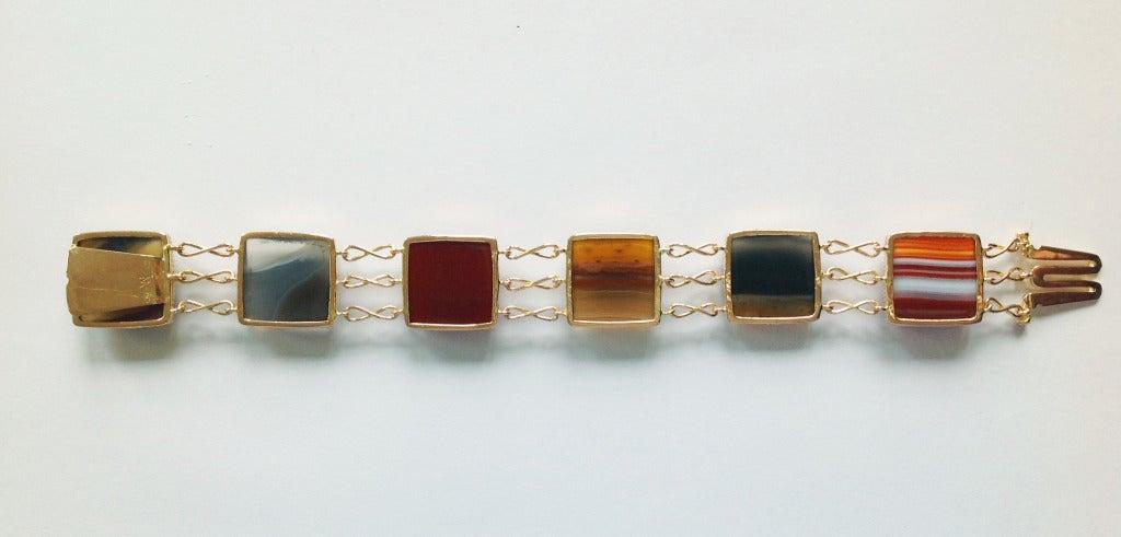 Dalben Agate Rose Gold Link Bracelet For Sale 2