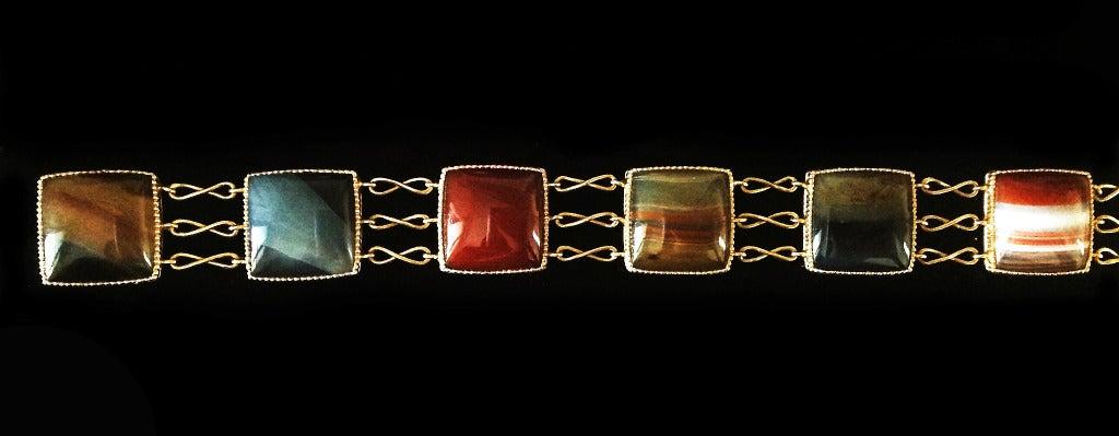 Dalben Agate Rose Gold Link Bracelet For Sale 3