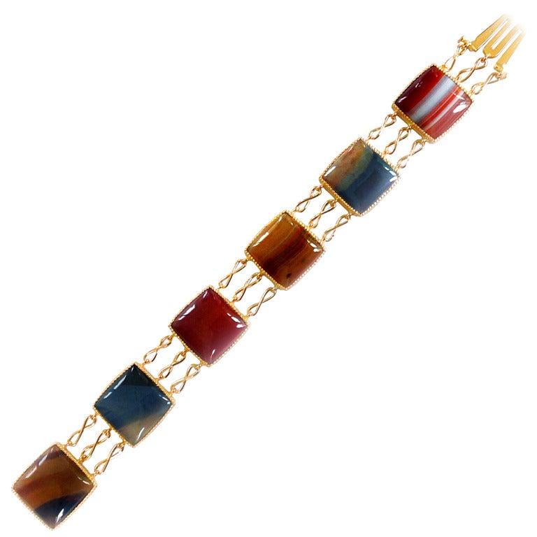 Dalben Agate Rose Gold Link Bracelet